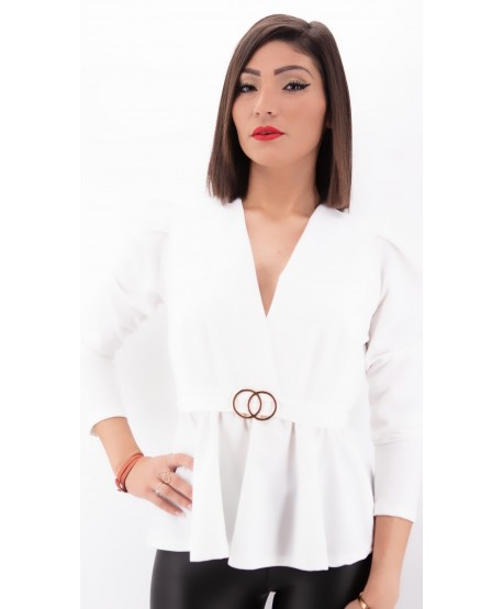 LONG SLEEVED TOP WHITE JEWELRY