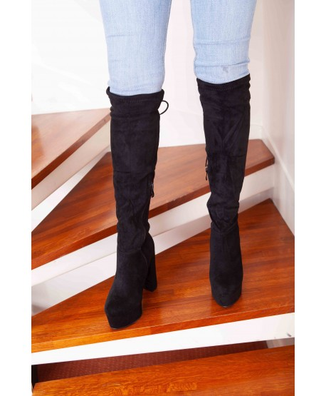 SUEDE HIP WADERS WITH BLACK HEELS AND PLATFORMS