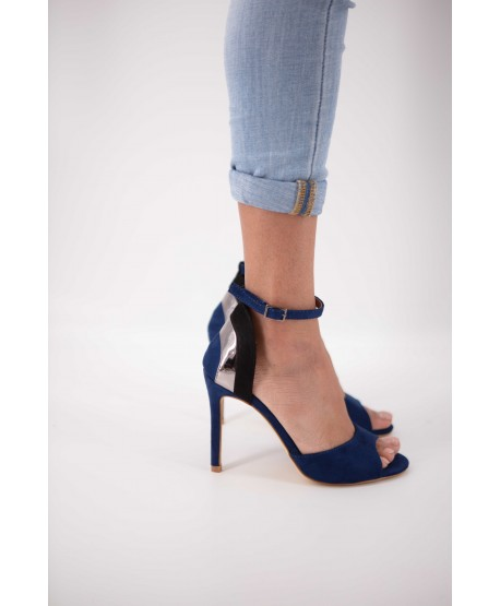 BLUE, BLACK AND SILVER CARINA SUEDE STRAPPY SANDAL