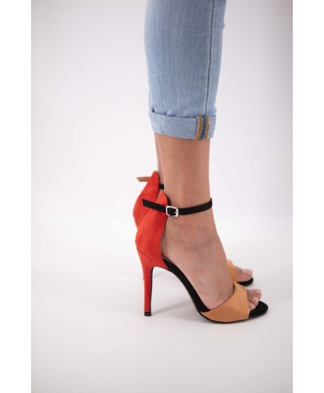 RED AND ORANGE CINTHYA SUEDE STRAPPY SANDAL