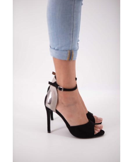 BLACK AND SILVER CARINA SUEDE STRAPPED SANDAL