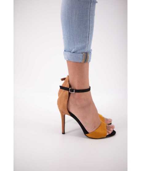 HONEY AND BROWN CATALNA SUEDE STRAPPY SANDAL
