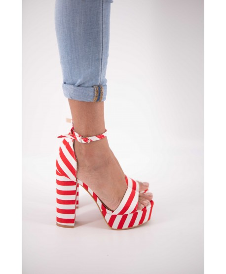 CELINE RED AND WHITE STRIPED WEDGE SANDALS