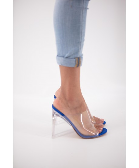 BLUE-HEELED TRANSPARENT COURTNEY MULE