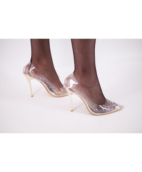 TRANSPARENT RHINESTONE PUMP CHRISTA GOLD