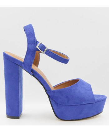 BLUE SUEDE CHAYMA WEDGE SANDAL