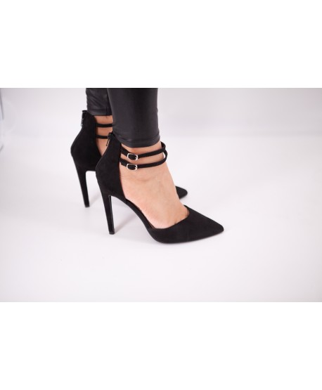 BLACK SUEDE SLINGBACK PUMP WITH STRAP