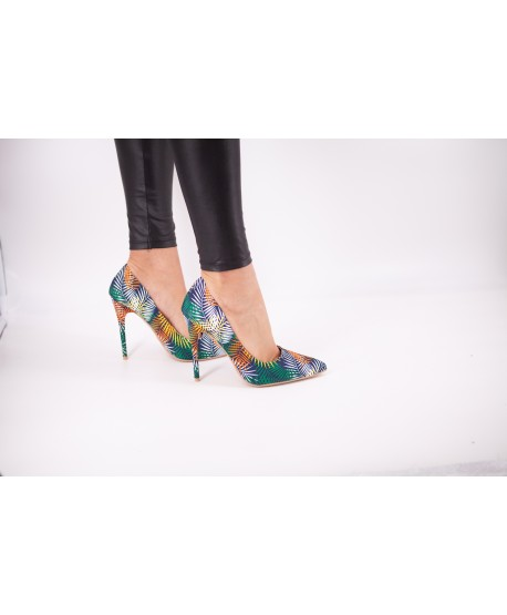CHAN PUMPS IN FANCY GREEN FEATHERED FABRIC