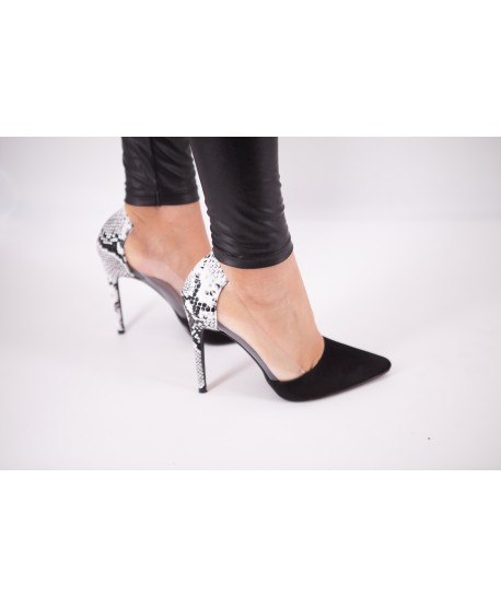 CLERVIE BI-MATERIAL BLACK AND ANIMAL CLERVIE SLINGBACKS