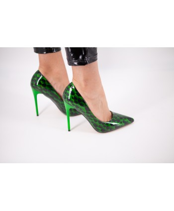 CELIANE PUMP GREEN TRAPEZE...