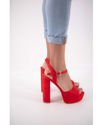 RED SUEDE CHAYMA WEDGE SANDAL