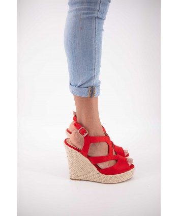 CLEARA RED WEDGE ESPADRILLE