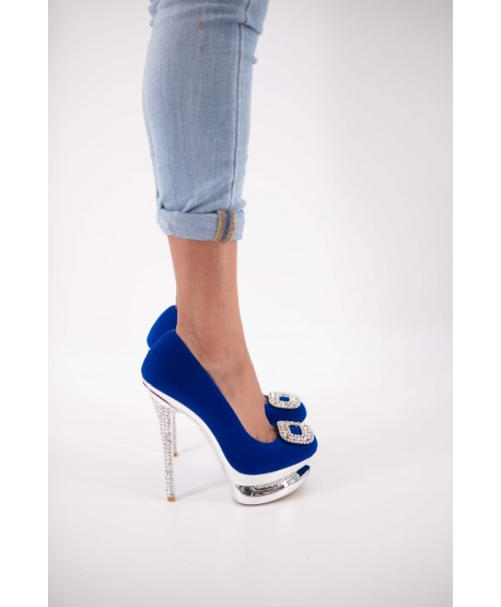 BLUE SUEDE CAYENNA JEWELRY WEDGE PUMPS