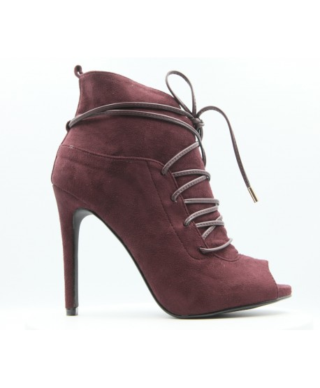 PLUM SUEDE CLARA OPEN TOE BOOT
