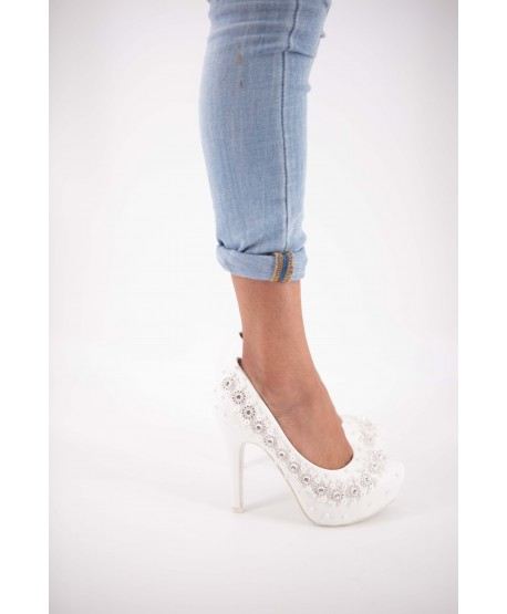 PLATFORM PUMP IN WHITE PEARL PEARL CACILIE LEATHER