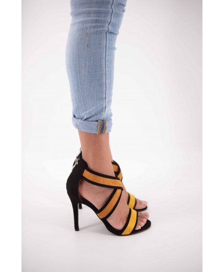 YELLOW AND BLACK CATHYA CROSSOVER SANDAL