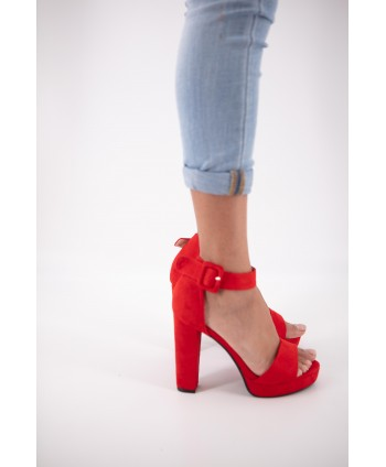 CAINA RED SUEDE SANDAL