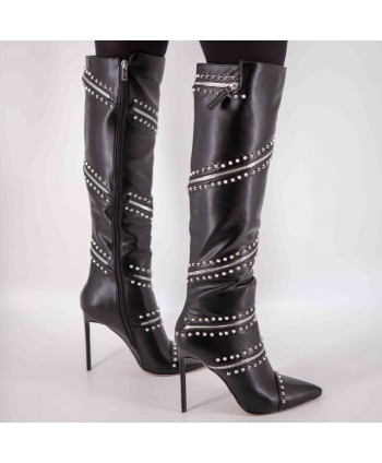 STUDDED LEATHER HEEL BOOTS...