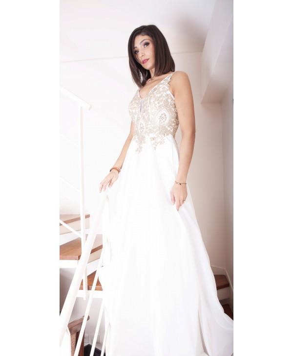 Long White Evening Gown With Pearl Bust