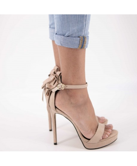 CLEMENCE BEIGE SANDAL WITH BOW DETAIL