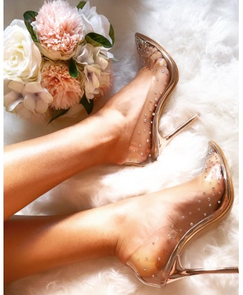 TRANSPARENT RHINESTONE PUMP...