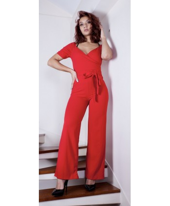 RED CROSSOVER SUIT PANTS