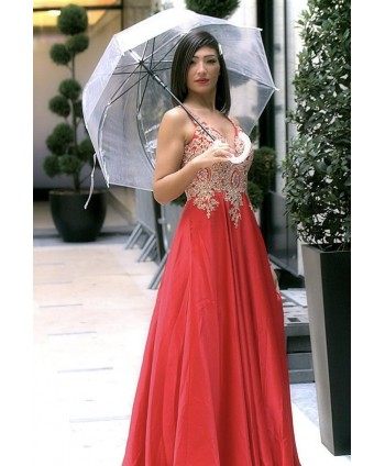 LONG RED EVENING DRESS WITH...