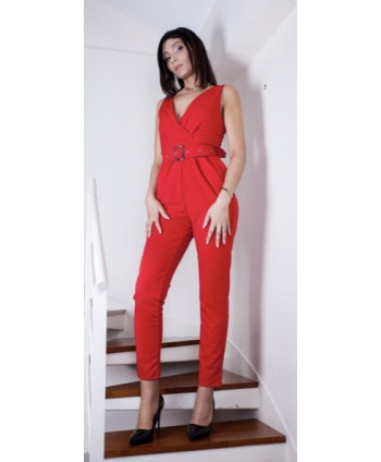 RED BELTED TROUSER SUIT