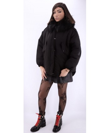 BLACK REMOVABLE FUR JACKET