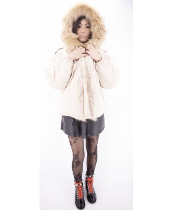 BEIGE REMOVABLE FUR JACKETS