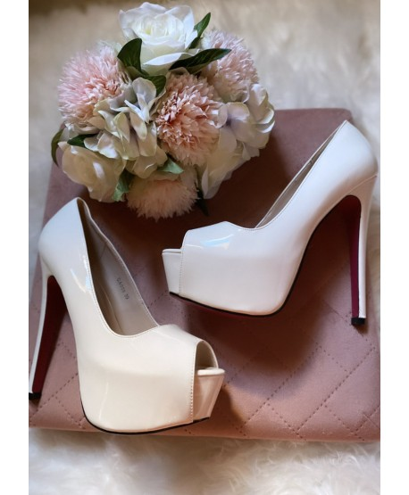 CIRILLA OPEN PATENT LEATHER PUMPS WITH WHITE PLATFORM