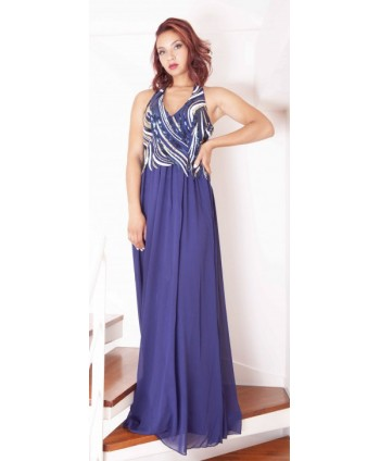 LONG EVENING GOWN WITH BLUE...