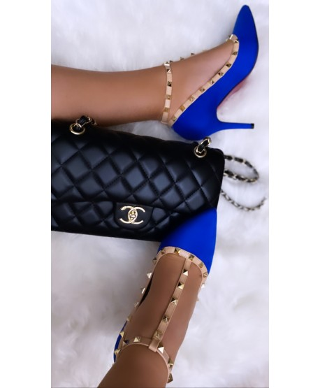 CARALIA STUDDED PUMPS WITH BLUE COUTURE SPIRIT