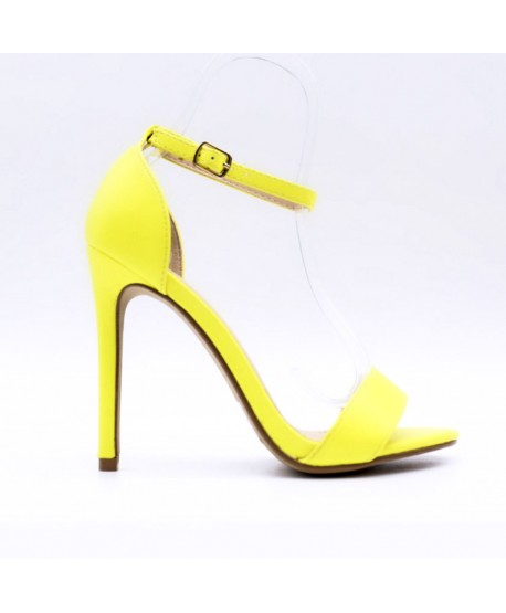 CHRISTYA STRAPPY SANDAL WITH FLUORESCENT YELLOW HEEL