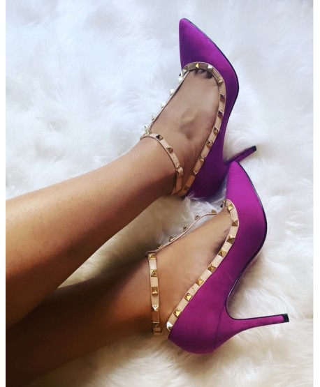 CARALIA STUDDED PUMPS WITH PURPLE COUTURE SPIRIT