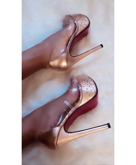 CACILIA CHAMPAGNE TRANSPARENT OPEN-TOE PUMP WITH RHINESTONES