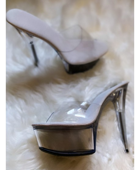 CALI POLE DANCE SILVER AND TRANSPARENT MULES