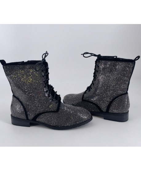 BOTTINES PLATES CLINDA A STRASS NOIRES