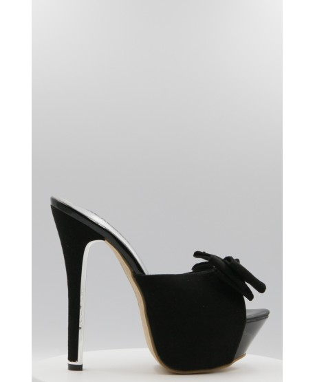 CIANA LEATHER SANDAL BLACK BOW DETAIL