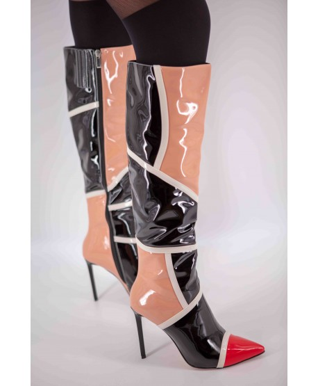 PATENT TRI-COLOUR HEEL BOOTS (LIMITED EDITION)