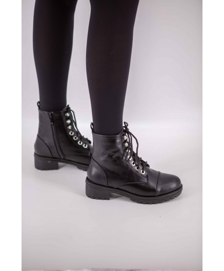 PEARL LEATHER FLAT BOOTS