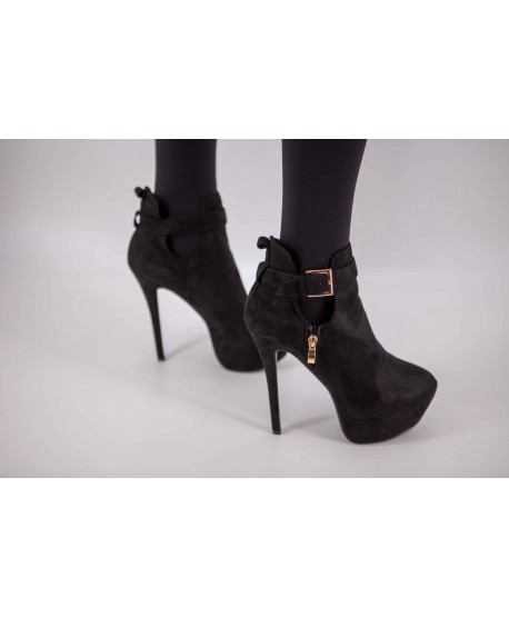 BLACK SUEDE PLATFORM BOOTS WITH HEELS
