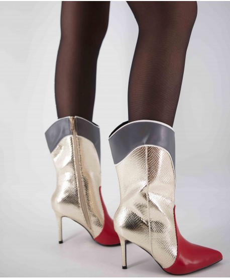 LEATHER BOOTS WITH TRI-COLOUR HEELS (LIMITED EDITION)