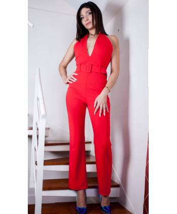 RED PLUNGING NECKLINE PANTS...